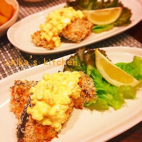 トースターでヘルシー♪秋鮭の香草焼き♡レンチンタルタルで♪