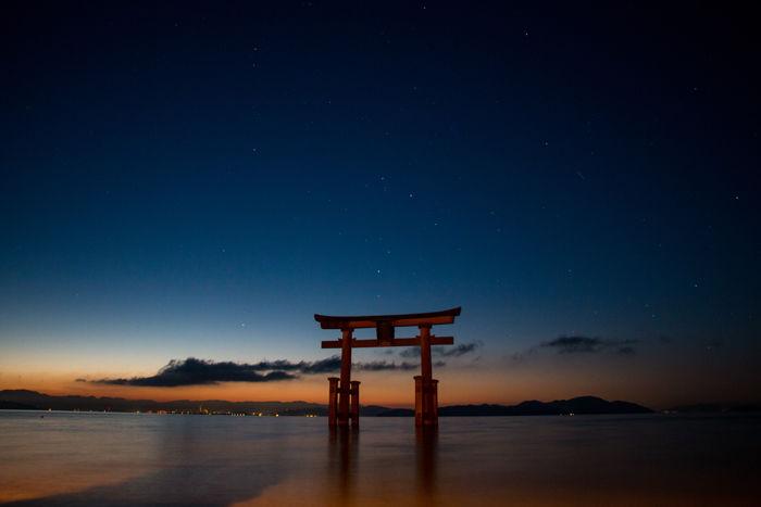 滋賀・高島市・白鬚神社(朝景・日の出)20170107-1
