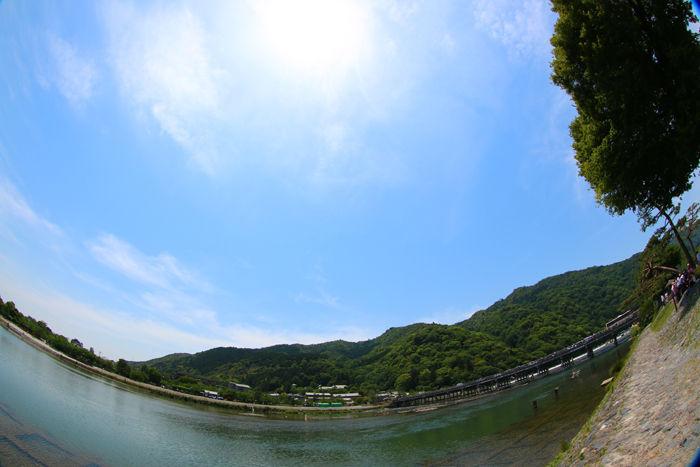 京都・右京区・【魚眼風景】渡月橋界隈20150527-1