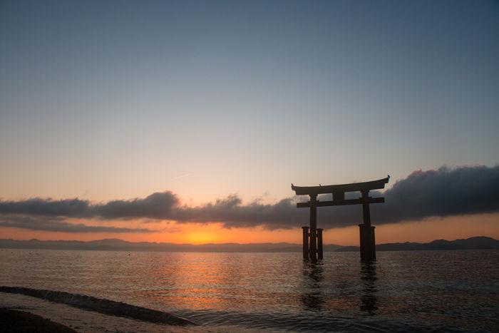 滋賀・高島市・白鬚神社(朝景・日の出)20170107-5