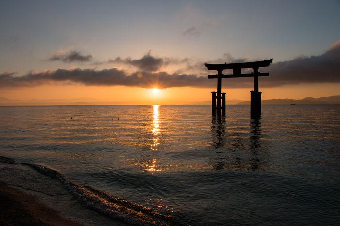 滋賀・高島市・白鬚神社(朝景・日の出)20170107-9