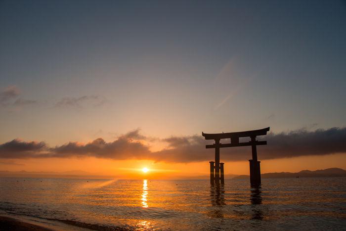 滋賀・高島市・白鬚神社(朝景・日の出)20170107-8