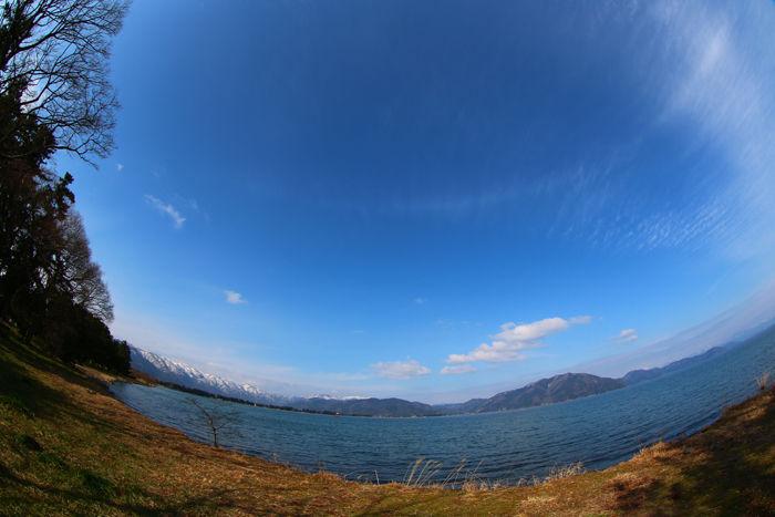 滋賀・高島市・【魚眼風景】今津町浜分地区20150306-1