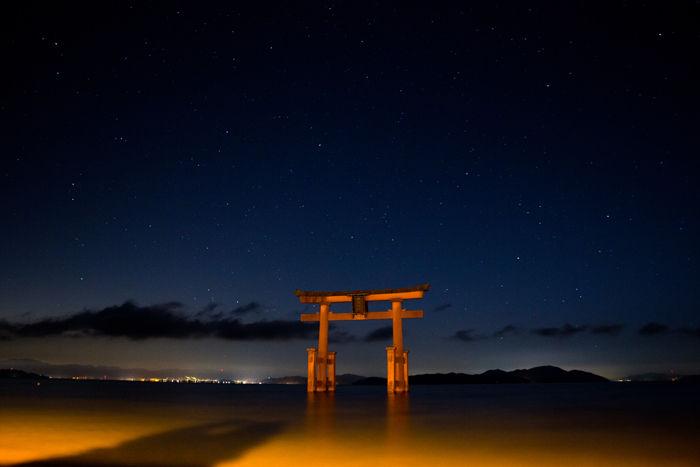 滋賀・高島市・白鬚神社(朝景・星)20170107-1