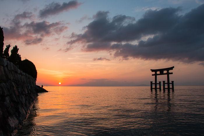 滋賀・高島市・白鬚神社(朝景・日の出)20170420-4