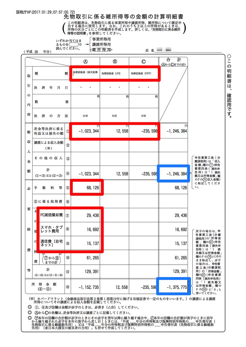 H28syo先物取引きに係る雑所得等の金額計算明細書