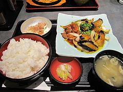 5ランチ:茄子味噌炒め定食650円+大盛り50円@居酒屋・益正・薬院店