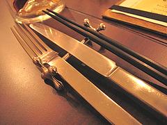 店内:お箸もあるでよ。@BUTCHER・炭火焼フレンチ・ブッチャー・平尾