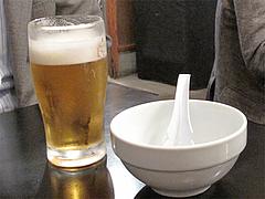 生ビールと取り分け皿@博多だるま