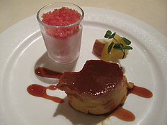 13ランチ:カボチャのプリン・グレープフルーツルビーのグラニテ・フルーツ@イタリアンレストラン・天神・西鉄グランドホテル・マンジャーモ
