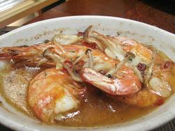 18赤海老のガーリックオイル煮@海の路