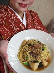 料理:ひき肉と筍と菜の花の和風パスタ@ベビーフェイスプラネッツ・パセオ野間大池店
