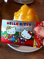 キティちゃん・かき氷フェア・ステッカー@ファミリーレストラン・ジョイフル