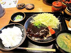 ランチ:ハンバーグ定食650円@日の出食堂・博多駅