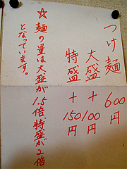 メニュー:つけ麺量@一龍・小倉駅前