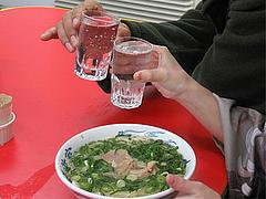 料理:コップ焼酎200円:元祖ラーメン長浜家・大手門