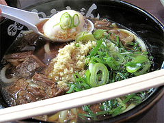 料理:肉肉うどんデラックス玉子@元祖肉肉うどん・千代店