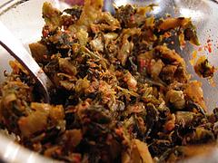 ランチ:卓上の辛子高菜@博多長浜らーめん風び・中州川端店