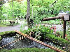 外観:中庭のつくばい@鍵屋・亀の井別荘・湯布院