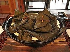 料理:五福開運・蓮の葉包み蒸し@僧伽小野・糸島
