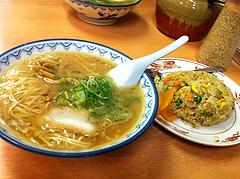 4ランチ:Aランチ600円・半焼飯+並ラーメン@元祖赤のれん節ちゃんラーメン・天神本店