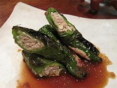 11鶏料理:万願寺唐辛子の肉詰め@焼鳥・sumiyaki燈(炭焼きあかり)・丸太町・京都