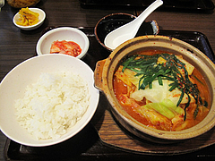 6ランチ:チゲ豆腐定食490円@大衆居食家しょうき・半道橋店