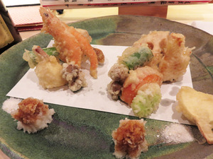 6ぶど海老と旬菜の天ぷら盛@蕎麦切りかんべえ