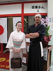店内:ちょんまげサムライ店長さん。@ちょんまげ侍・博多川端商店街