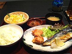 5ランチ:サバの塩焼きと唐揚げ490円@居酒屋しょうき・長住店