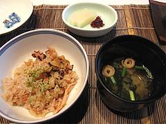 料理:タコホタテカニ海鮮炊き込みご飯と止椀と香の物@中村孝明・ホテルマリターレ創世・久留米