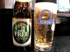 料理:生ビール500円とノンアルコールビール450円@牛もつ鍋なの川・福岡市中央区那の川