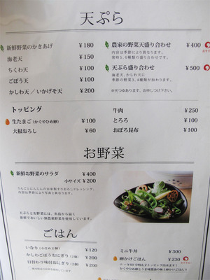 15天ぷら・サラダ・ご飯のメニュー@茶ぶ釜