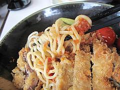 料理:とんかつ甘麺トマト風味のミートソース@麺処・甘(かん)
