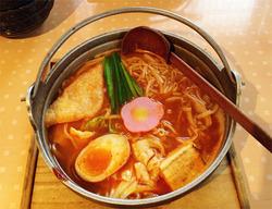 6チゲ味噌めんちゃんこ中辛・煮玉子80円@めんちゃんこ百道本店