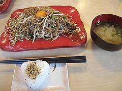 ランチ:辛玉焼そばランチセット780円@麺焼そば・バソキ屋
