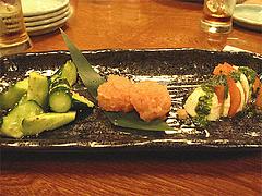 メニュー:ごまきゅうり・カプレーゼ・明太子@博多鶏と麺こはる・ラーメン居酒屋