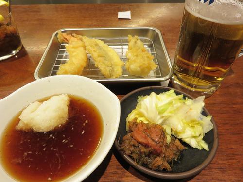 【福岡】お昼の生ビールセット+牡蠣天♪@博多天ぷらたかお キャナルシティ店