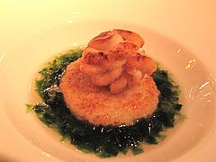 料理:白子と生アオサのリゾット@レストラン花の木・福岡