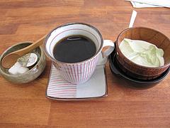 ランチ:巫女さんセットのコーヒーとデザート@ちょんまげ侍・博多川端商店街