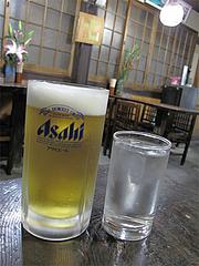 料理:生ビールとそば焼酎400円@くらり庵