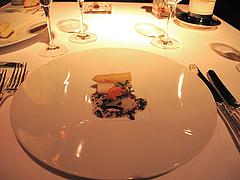料理:アワビ・ウニ・ホワイトアスパラガスのサラダ・トリュフのドレッシング@レストラン花の木・福岡