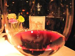 料理:赤ワイングラス@レストラン花の木・福岡