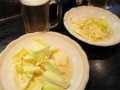 4焼鳥:生ビとキャベツ@焼とり・赤兵衛・姪浜・居酒屋