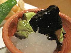 料理:おまかせコース4茶せんナスの素揚げ:いも焼酎@博多一梅(ひとばい)