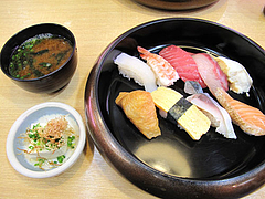 ランチ:500円鮨セット@回転寿司・博多玄海丸・野間
