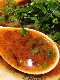 14パクチーカラシビ味噌らー麺スープ@鬼金棒(きかんぼう)