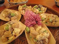 お料理:お豆とクリームチーズの舟@女子会