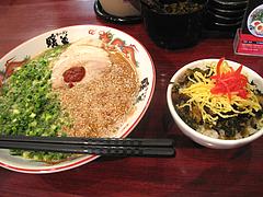 ラーメン:ネギごまラーメン650円+チャーシュー高菜丼100円@暖暮・博多中洲店