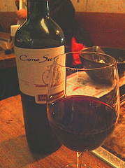 10居酒屋:赤ワイン・コノスル@鉄板バル・あじさわ・お好み焼き・姪浜